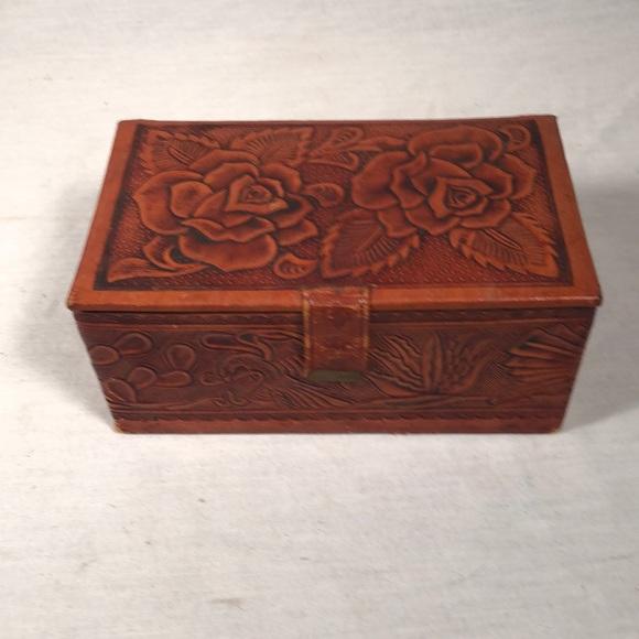 Vintage Handcarved Leather Horse Trinket Box